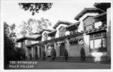 Photographic postcard of gymnasium at Mills College