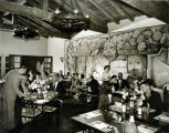 Image of La Avenida Cafe interior with the 1938 Flores de Mexico mural by Ramos Martinez, Coronado, 1955