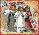 """Crate label, """"Young Sports Brand."""" Packed by Speich Packing Co., Riverside, Calif."""