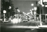 Downtown Banning, California at night looking east on Ramsey Street from 5th Street