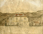 "Water color drawing of Banning' first hotel, the """"Bryant House,"""" which later became """"The Banning"""" and later still, the """"San Gorgonio Inn"""""