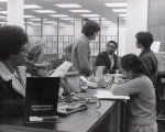 Photograph from behind a desk in the University Library