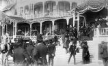 President Benjamin Harrison on the steps of the Hotel del Coronado, 1891