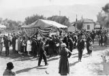Armistice Day Celebration booth in downtown Banning, California in 1920