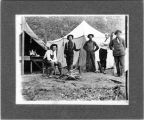 Upland Photograph Events; Upland Fire Department Camping Trip: 5 men in front of 2 canvas tents