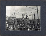 Upland Photograph Events; Fourth of July Parade: crowd listening to speaker at 2nd Avenue and B Street, Upland, CA