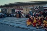 [President Gerald Ford at dedication of Mission Viejo community flag, 1976 slide].