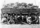 Bundle wagon thresher crew, (c. 1902), photograph