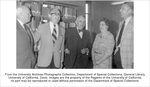 Ryerson, Knowles A., J. Richard Blanchard, Tracy Storer, Gladys Lewis and James Meyer (left to right) at the dedication of the Nelle Branch Room in the Library