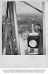 Agricultural Engineering, Coby Lorenzen (left) and H. Schultz on television tower in Walnut Grove, California