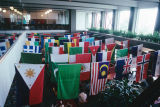 Slide of dozens of international flags hung in the University Union