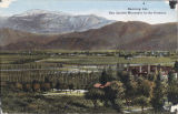 Color tinted panorama of St. Boniface Indian/Industrial School and San Jacinto Mountains
