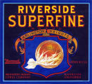 "Crate label, ""Riverside Superfine Brand."" Arlington Heights Citrus Company. Riverside, Calif."