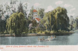Postcard of Lake at Lucky Baldwin's Ranch--Rowboat and Queen Anne Cottage