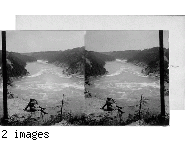 Looking over the whirlpool and down the gorge of the Niagara River.  Niagara, N. York.