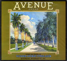 "Crate label, ""Avenue Brand."" Grown and packed by Victoria Avenue Citrus Assn. Riverside, Calif."