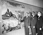 UCLA Chancellor Dr. Franklin Murphy, Julius Fliegelman and Dr. David Lieber at the University of Judaism Art Gallery