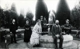 Nimock's family and guests by fountain