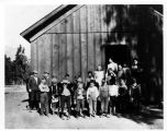 Children and Teachers at Arcadia's First School House, a Packing Shed Given by Elias J. (Lucky) Baldwin.