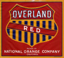 "Crate label, ""Overland Red."" Packed by National Orange Company. Riverside, Calif."