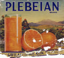 "Crate label, ""Plebian Brand."" Packed by Gavilan Citrus Assn., Arlington, Riverside, Co., Calif."