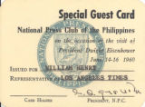 National Press Club Special Guest Card, President Eisenhower's 1960 visit to the Philippines