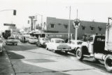 Traffic jam at intersection of Ramsey Street and San Gorgonio Avenue in Banning, California