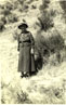 Alice Eastwood in Hospital Canyon, San Joaquin County, standing by Eastwoodia elegans.