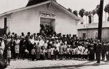 The late Reverend Jesse Walker and the congregation of old St. Paul Baptist Church on 7th Street between B and C Street, Oxnard : 1944.
