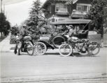 Motorcyclists with Automobile, South Pasadena, Calif., about 1910