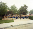 Photograph of Valencia High School Band performing outside.