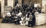 Photograph of school children and teacher at Placentia School       in 1904.