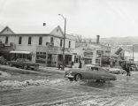 Downtown Banning, California street corner in snow in the 1950s