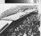 War wounded from Letterman Hospital in San Francisco  alighting from train at the summit of Mount Tamalpais