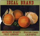 "Crate label, ""Ideal Brand."" Arlington Heights Fruit Company. Riverside, Calif."