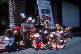 [Mini-Skool's Summer Program sign and students, circa 1977 slide].