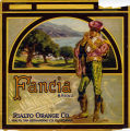 "Crate label, ""Fancia Brand."" Rialto Orange Co. Rialto, San Bernardino Co., Calif."