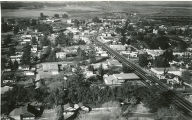 Late 1950s aerial photograph of downtown Beaumont, California at the junction of the 99 and 60 Highways