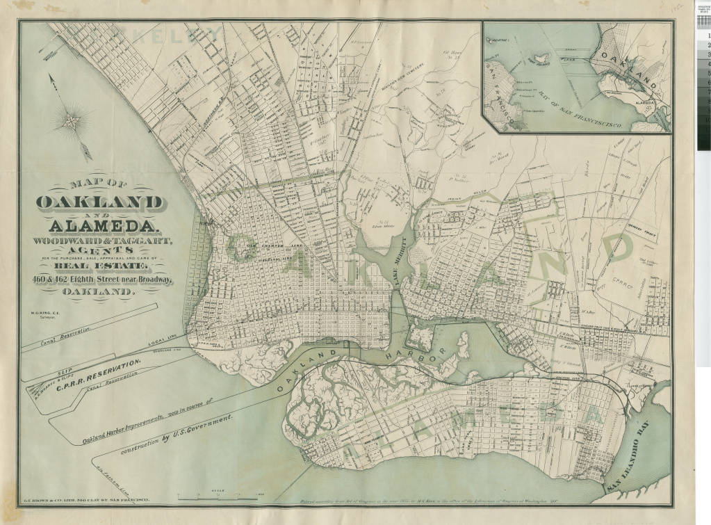 Map of Oakland and Alameda cartographic material Woodward