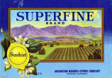 "Crate label, ""Superfine Brand."" Arlington Heights Citrus Company, Riverside, Calif."
