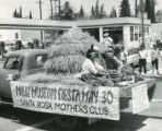 Stagecoach Days parade float in Banning, California advertising the Malki Museum Fiesta