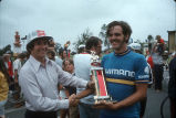 [Miller High Life Classic Bicycle Race trophy presentation, 1973 slide].
