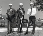 Photograph of President Ellis E. McCune, State Senator Dan Boatwright and Assemblyman Bill Baker breaking ground on the Contra Costa Campus.