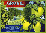 "Crate label, ""Grove Brand."" Grown and packed by Corona Lemon Company, Corona, Riverside Co., Calif."