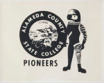 Alameda County State College Pioneers mascot (astronaut in spacesuit)