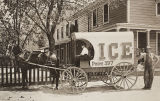 Beaumont Ice Truck delivery wagon.  A cake of ice is being weighed in the back.  Postcard.