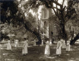 Photograph of a maypole dance at Mills College