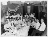 Upland Photograph Events; Upland Fire Department Party: 24 men seated or standing around a banquet table
