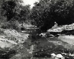 Stream in the Arroyo Seco, about 1930.