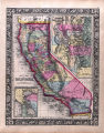 Hand colored county map of California, 1860
